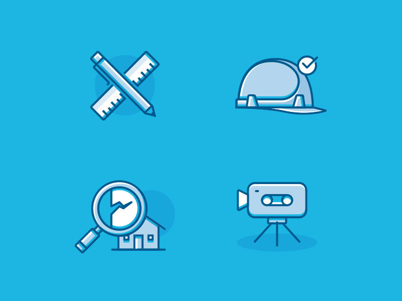Set d'icônes pour le site internet d'un bureau d'étude de structure