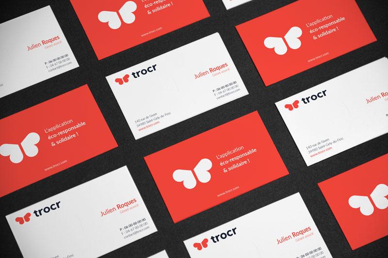Cartes de visite de la startup Trocr
