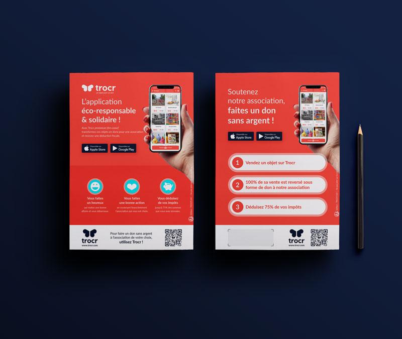 Flyers de présentation de l'Application mobile Trocr