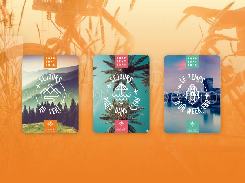 Les trois Z-cards pour l'aéroport Nice Côte d'Azur - Campagne Mars 2019