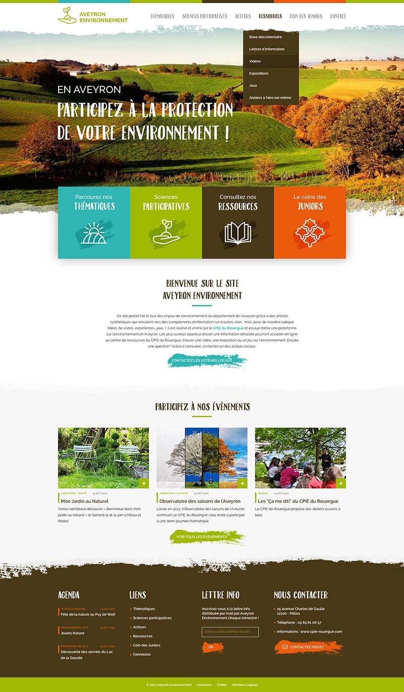 Page d'accueil du site internet Aveyron Environnement