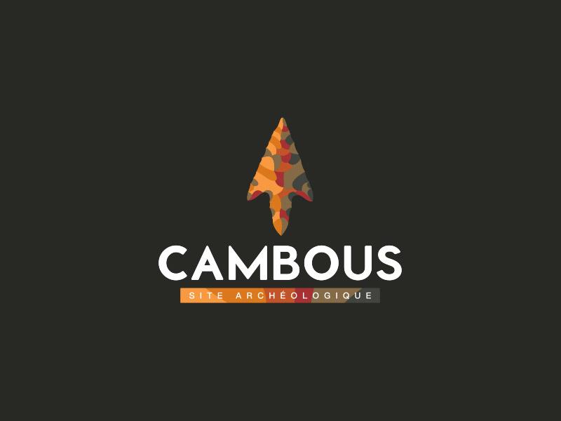 Logo sur fond noir du site archéologique de Cambous