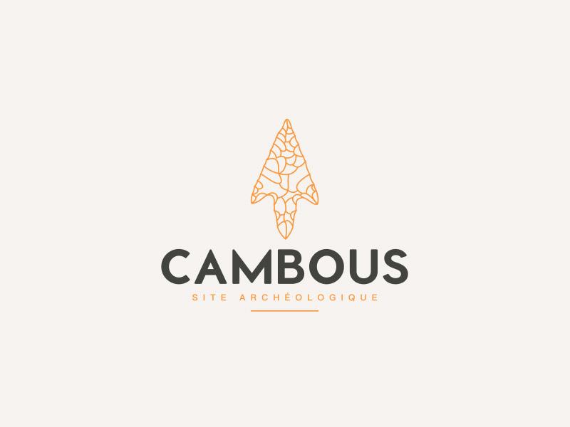 Logo filaire sur fond blanc du site archéologique de Cambous