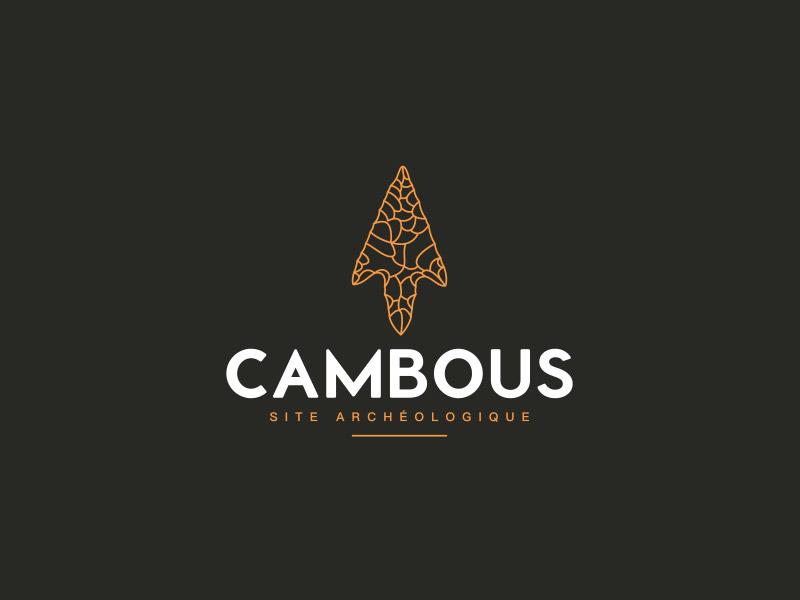 Logo filaire sur fond noir du site archéologique de Cambous