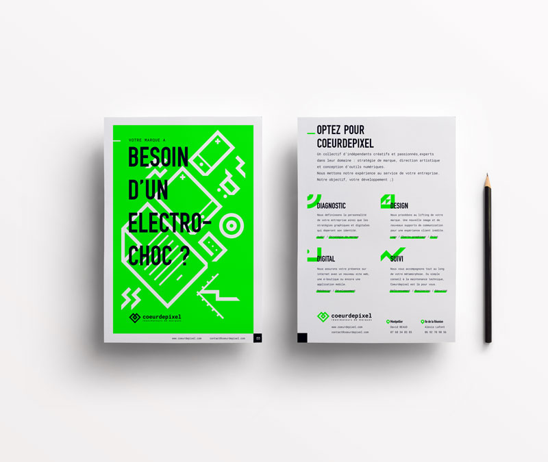Design du flyer de communication du collectif CoeurdePixel