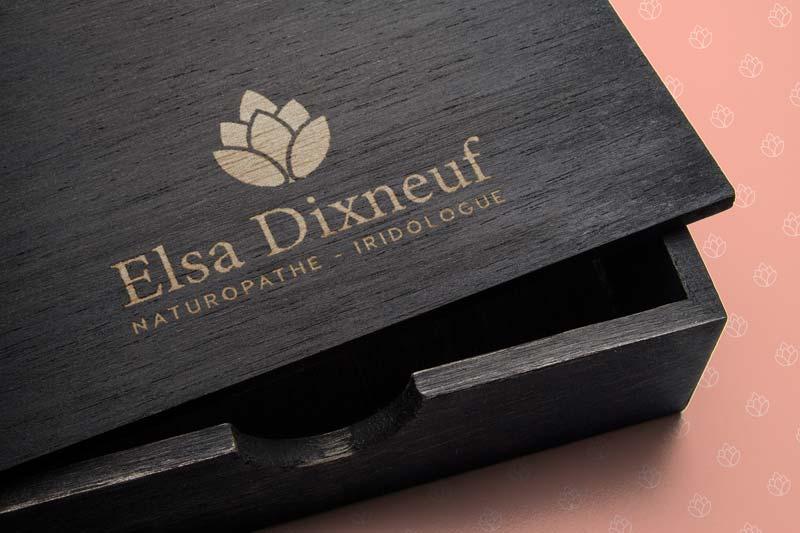 Pochoir Elsa Dixneuf sur boite en bois