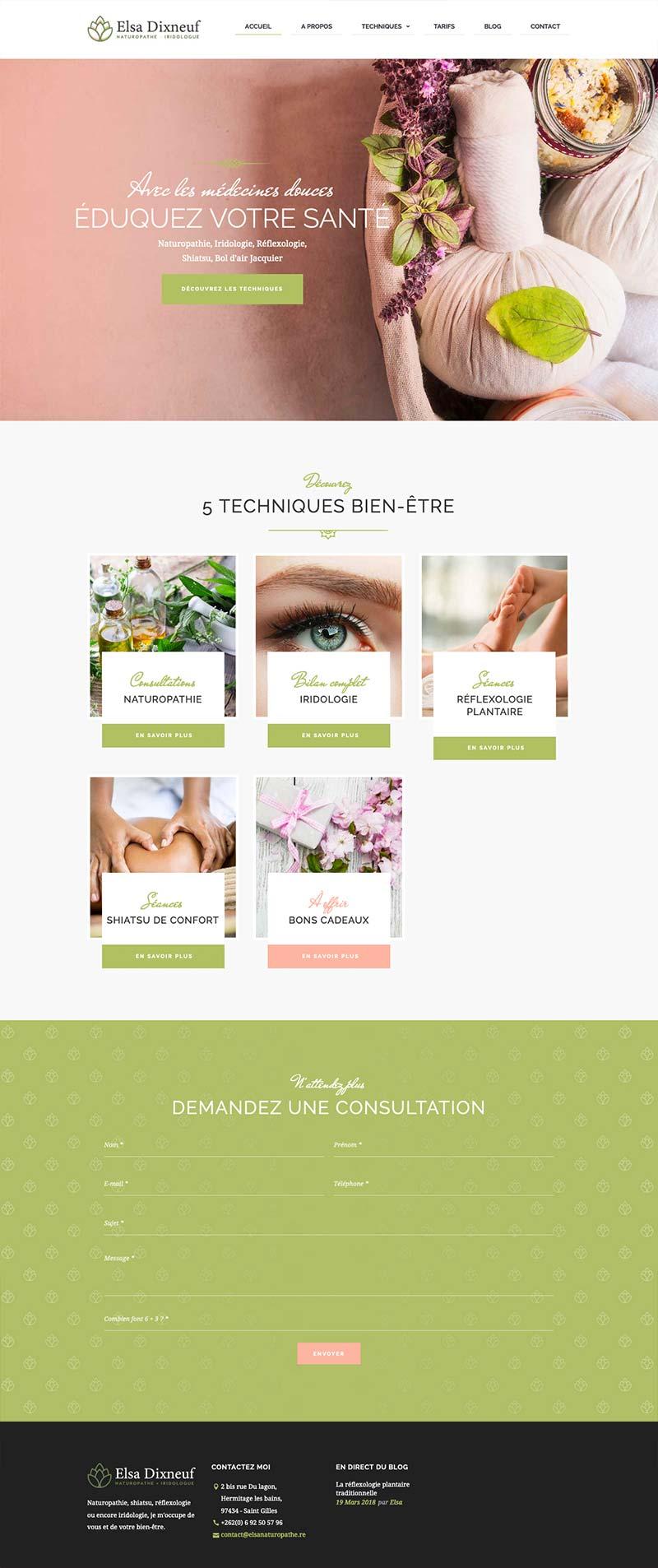 Page d'accueil du site internet de la naturopathe Elsa Dixneuf