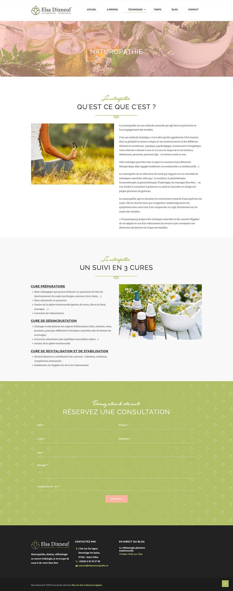 Page technique du site internet de la naturopathe Elsa Dixneuf