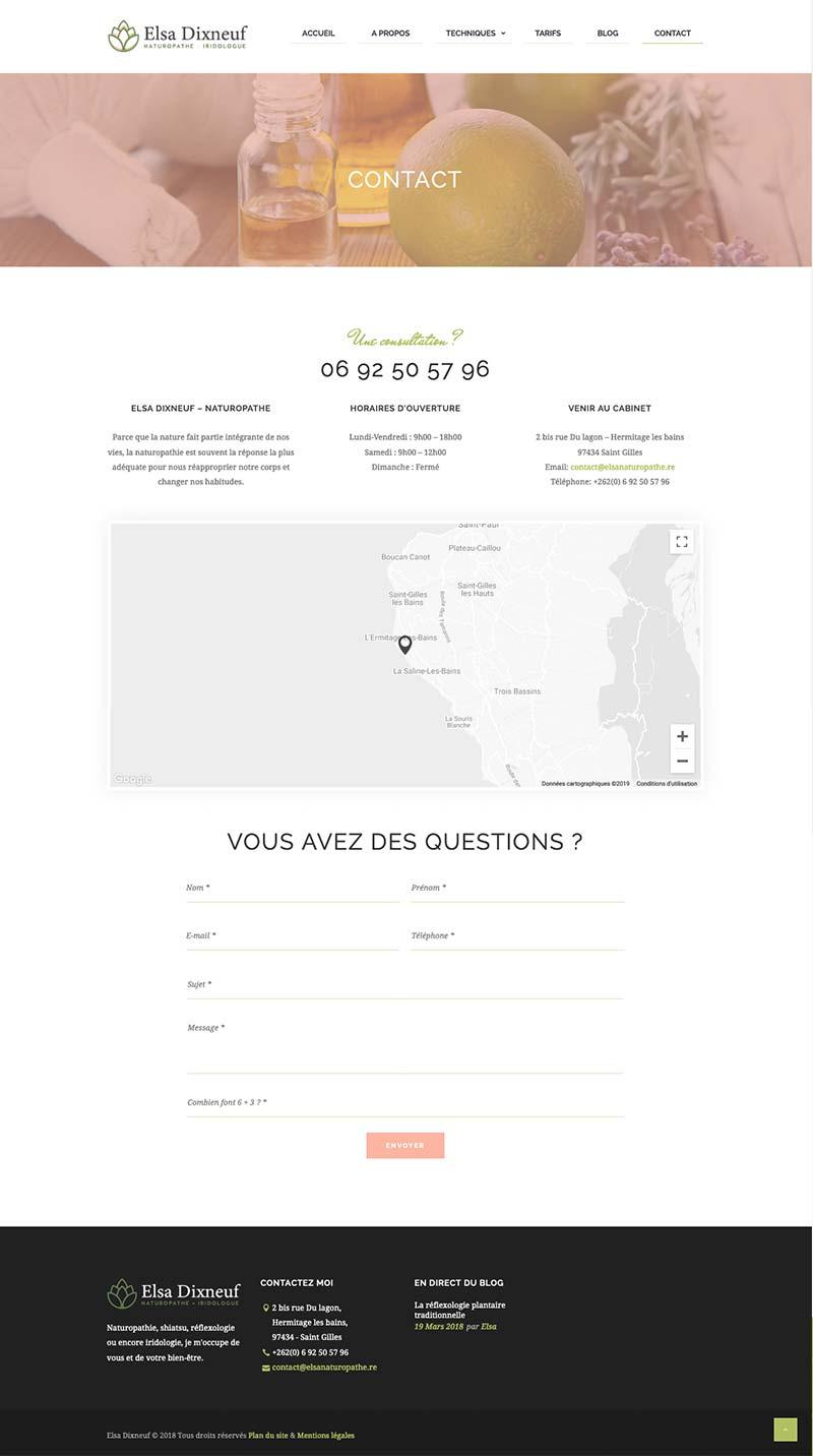 Page de contact du site internet de la naturopathe Elsa Dixneuf