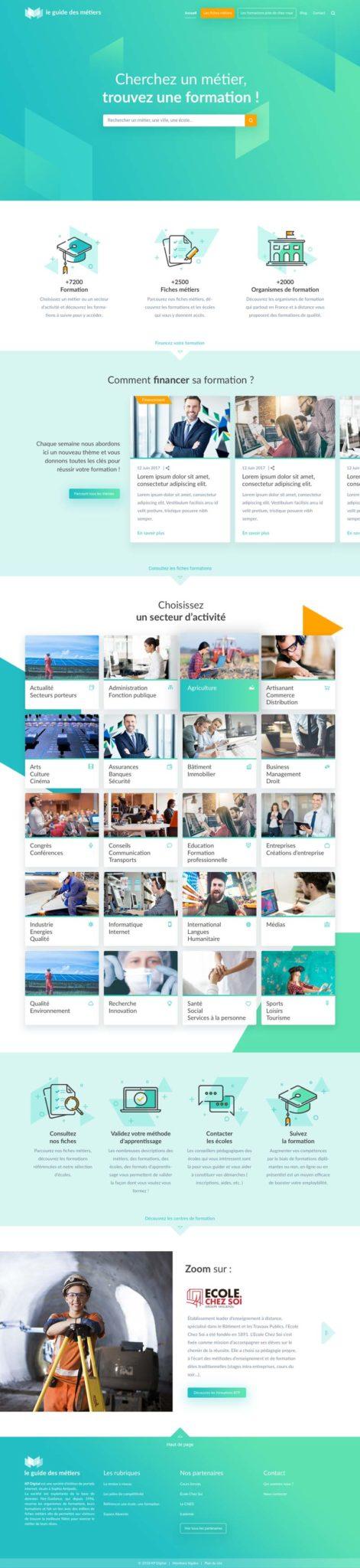 Design de la page d'accueil du site internet Le Guide des Métiers