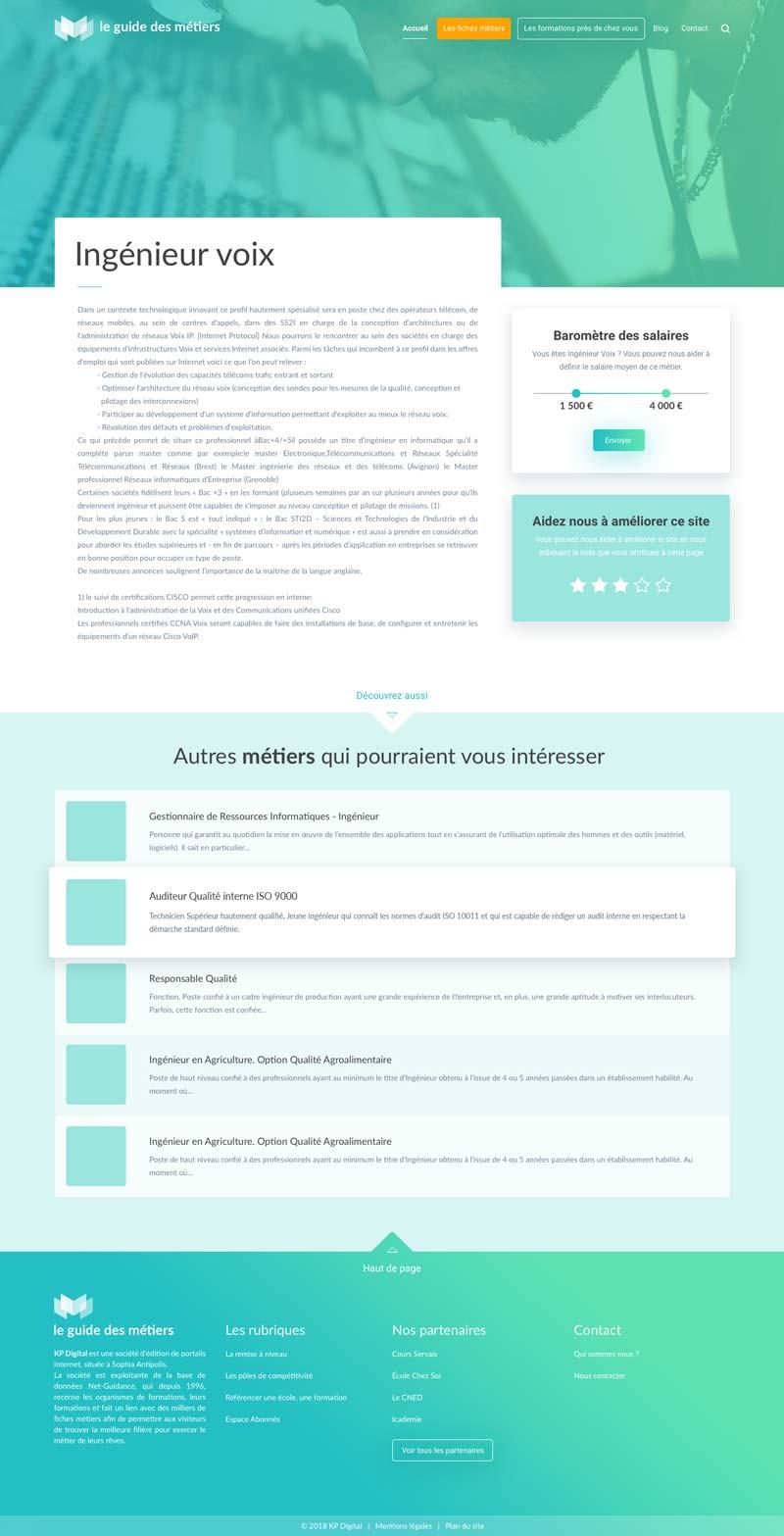 Design de la page métier du site internet Le Guide des Métiers