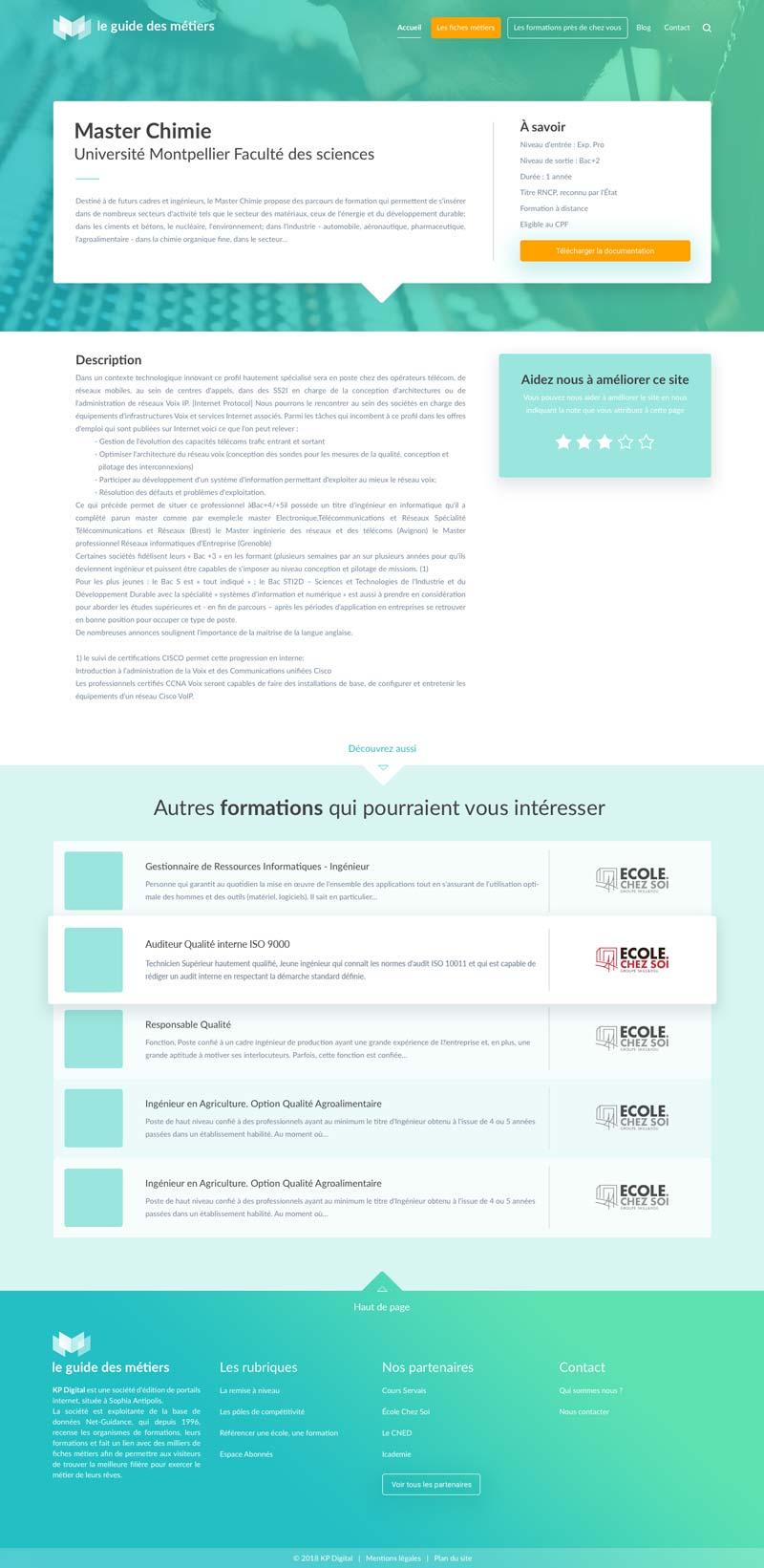 Design de la page formation du site internet Le Guide des Métiers