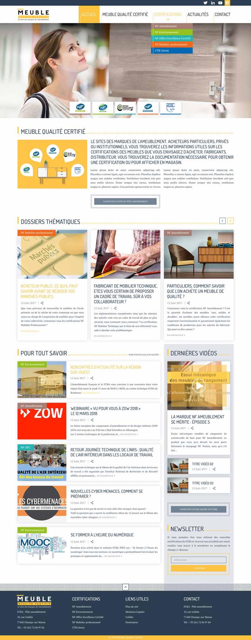 Page d'accueil du site internet Meuble Qualité Certifié