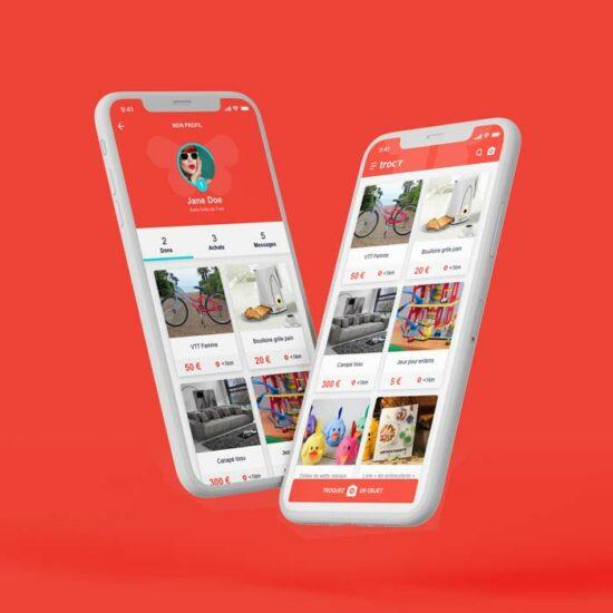 Design de l'application mobile Trocr